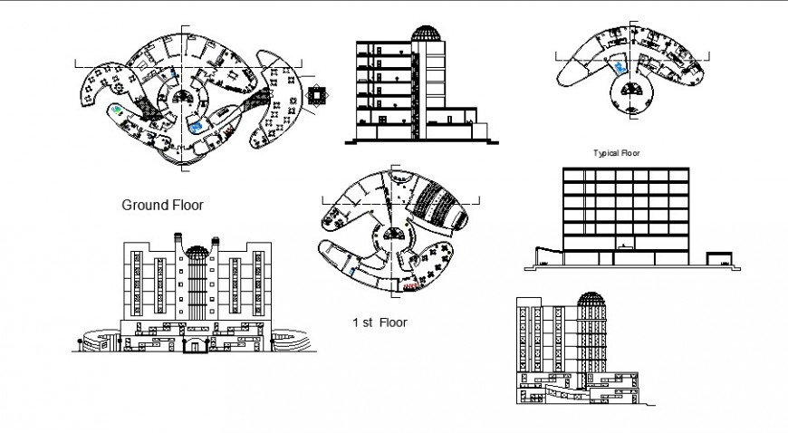 Multi-level hotel all sided elevation, typical, ground and first floor plan cad drawing details dwg file