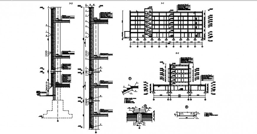 Multi-level hotel building constructive section drawing details dwg file