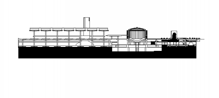 Multi-level industrial plant building main elevation cad drawing details dwg file