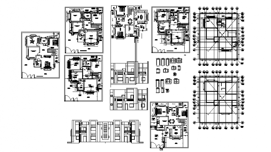 Multi-level luxuries bungalow elevation, section, floor plan and foundation structure details dwg file