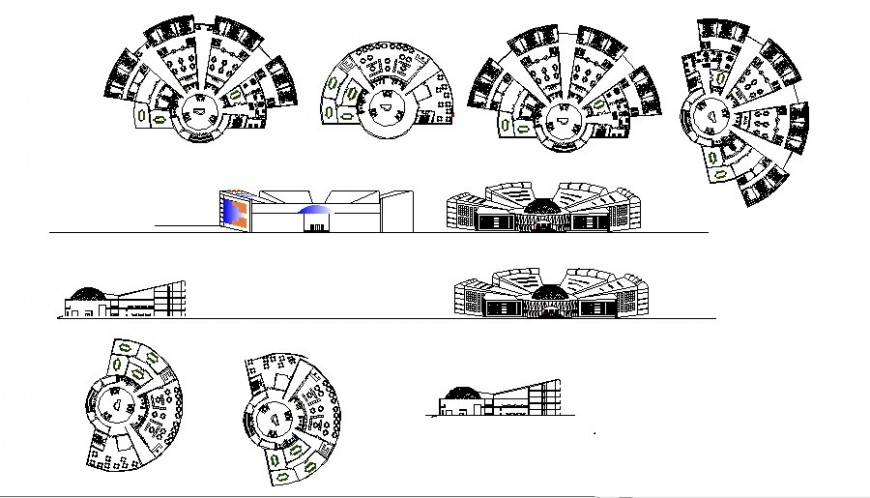 Multi-level luxuries hotel building elevation and floor plan details dwg file