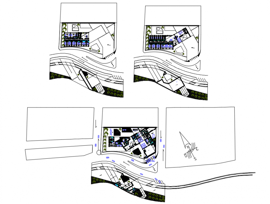 Multi-level luxuries hotel ground floor, second floor and third floor layout plan details dwg file