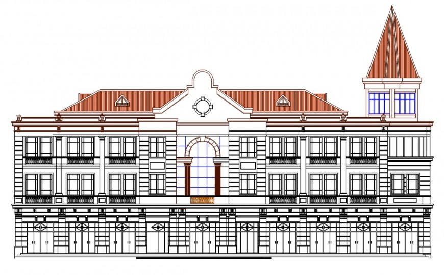 Multi-level luxurious villa mension main elevation cad drawing details dwg file