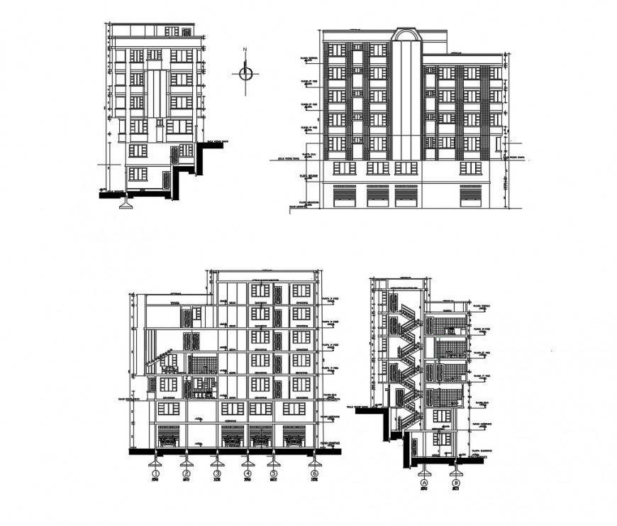 Multi-level office building all sided elevation and section drawing details dwg file