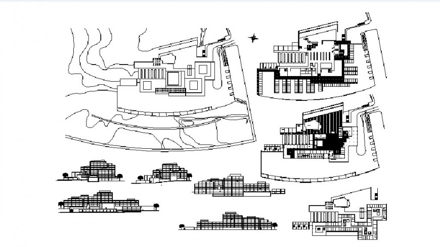 Multi-level office building all sided elevations and sections drawing details dwg file