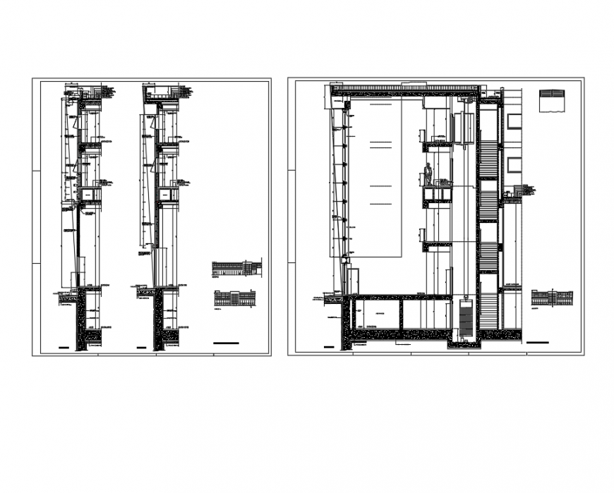 Multi-level office building facade section-constructive details dwg file