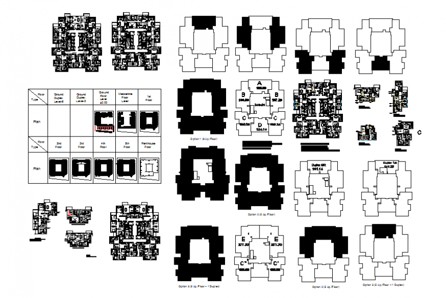 Multi-level office building tower general layout plan, floor plan and auto-cad details dwg file