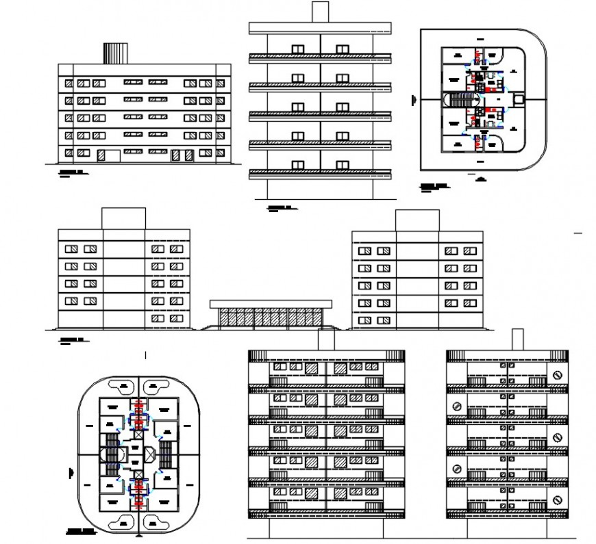 Multi-level residential cum commercial building elevation, section and floor plan cad drawing details dwg file