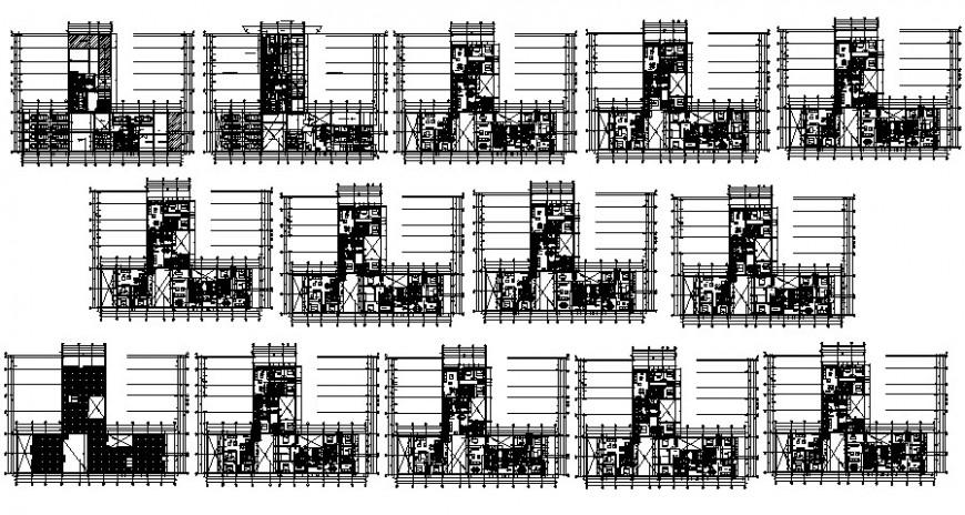 Multi-level san office building floor plan distribution drawing details dwg file