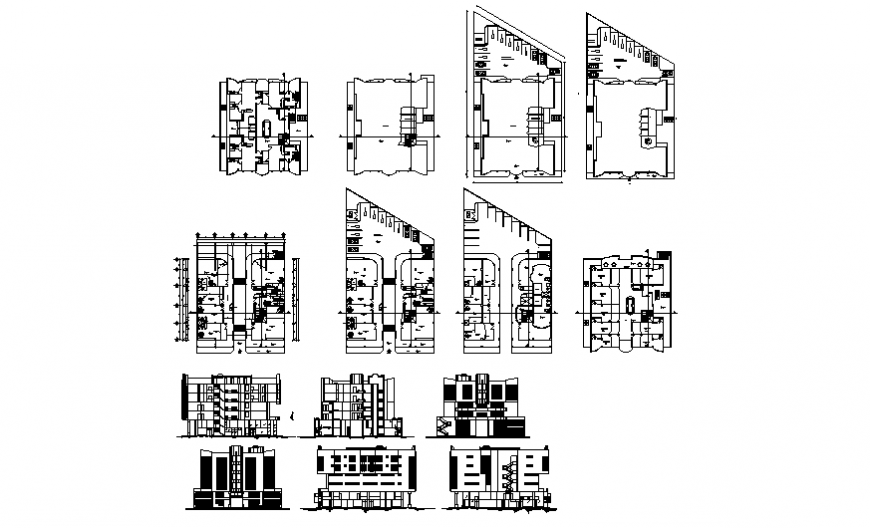 Multi-level shopping mall building elevation, section and floor plan details dwg file