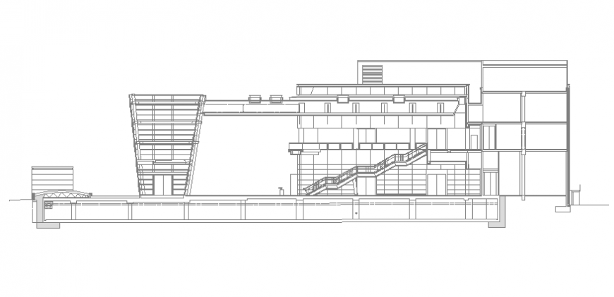 Multi-level shopping mall building facade sectional details dwg file