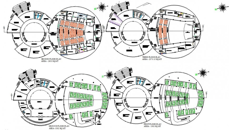 Multi-plex theater building detail 2d view layout plan in autocad format