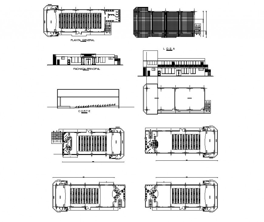 Multi-plex theater building structure detail plan, elevation and section 2d view layout dwg file