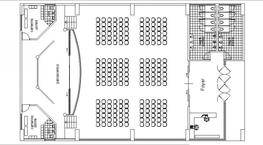 Multi-plex theater detail plan 2d view autocad file