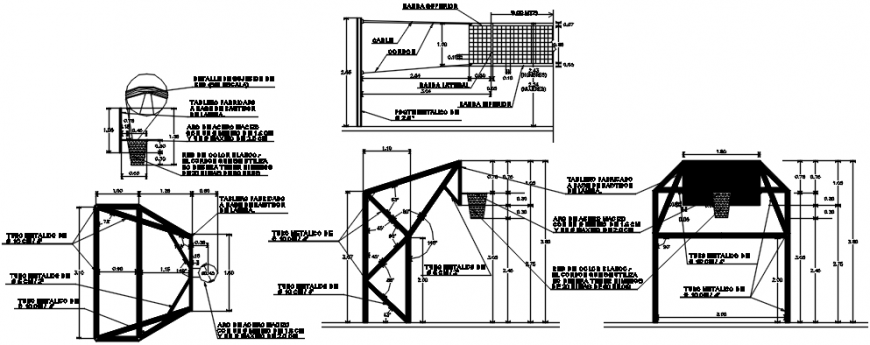 Multi-purpose sports court section and structure details dwg file