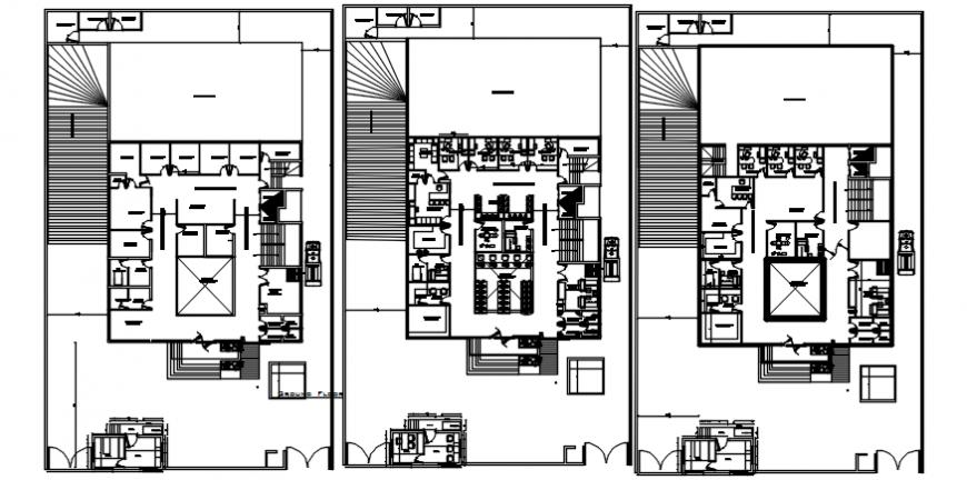 Multi-specialist general hospital building floor plan distribution cad drawing details dwg file