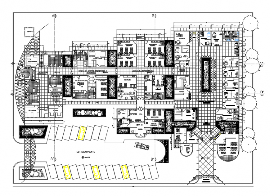 Multi-specialist health hospital general layout plan cad drawing details dwg file