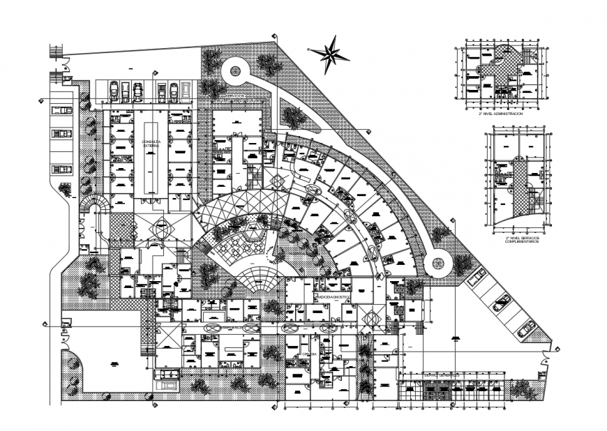 Multi-specialist hospital distribution layout plan cad drawing details dwg file