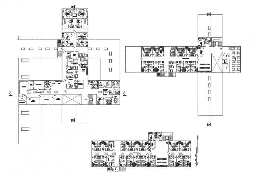 Multi-specialist hospital floor plan distribution cad drawing details dwg file