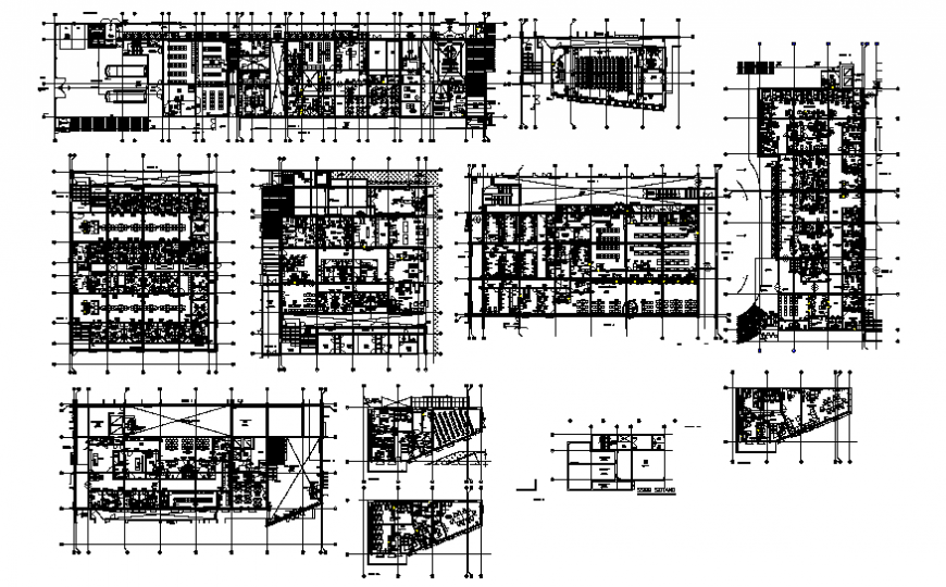 Multi-specialist hospital floor plan layout cad drawing details dwg file