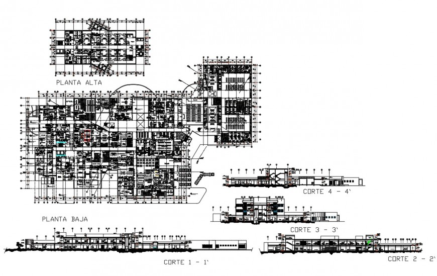 Multi-specialist hospital with academic all sided elevation, section and floor plan details dwg file