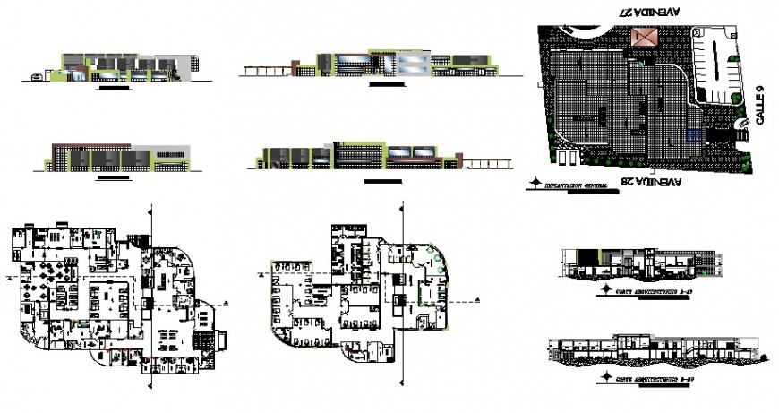 Multi-specialty medical hospital detailed architecture project dwg file