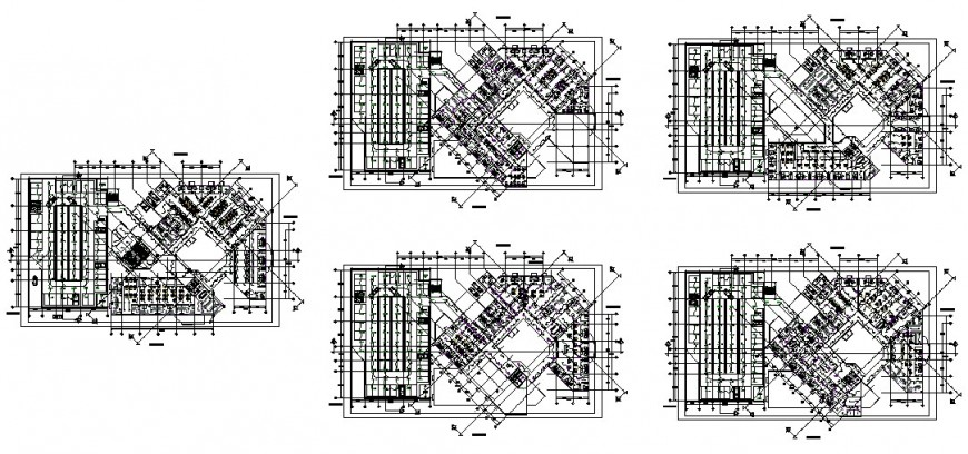 Multi-storey commerce building detail plan 2d view layout dwg file