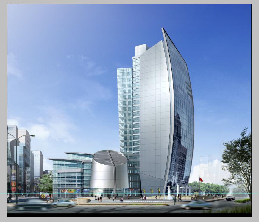 Multi-storey commercial building detail elevation 3d model Photoshop file