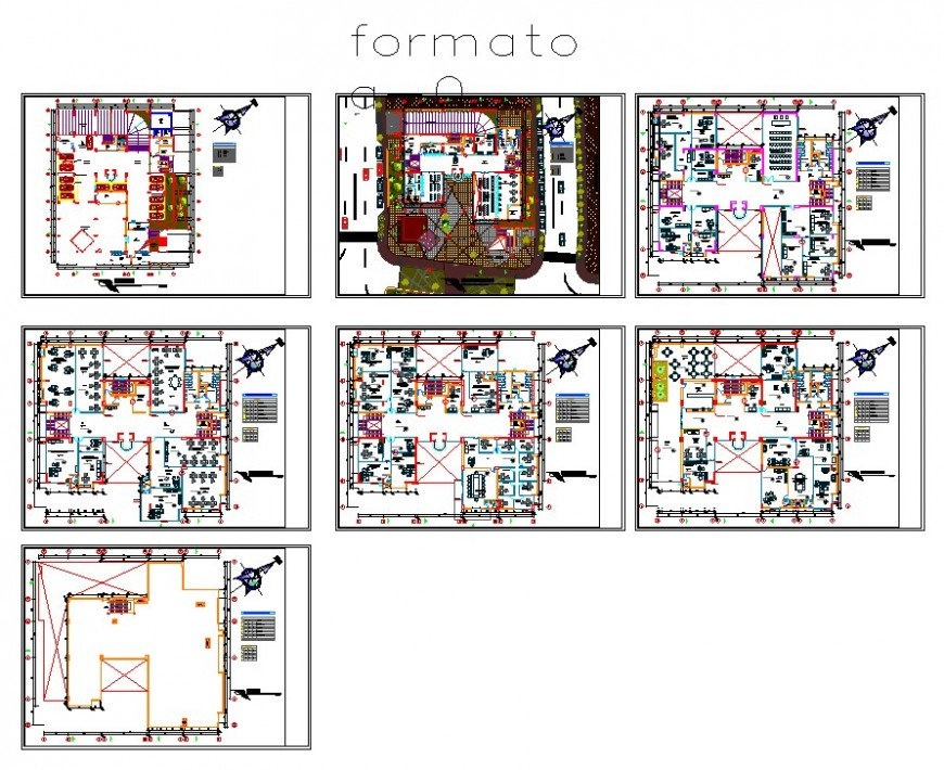 Multi-storey high rise building structure detail 2d view layout plan in autocad format
