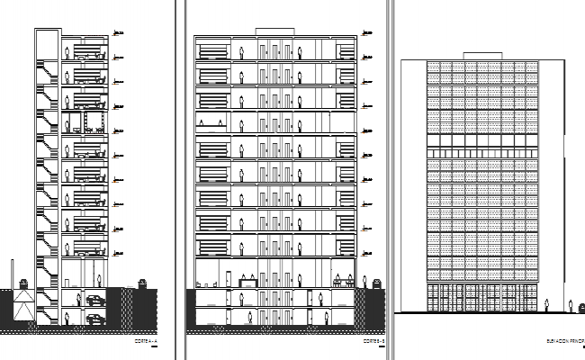 multi-story administration building elevation and sectional details dwg file