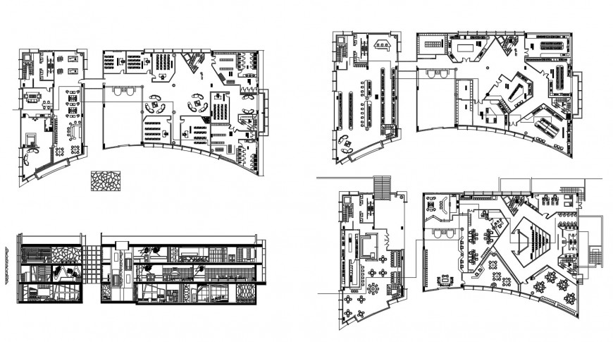 Multi-story academic building floor plan distribution cad drawing details dwg file