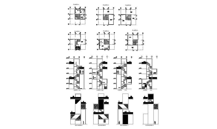 Multi-story apartment building all sided elevation, section and plan details dwg file