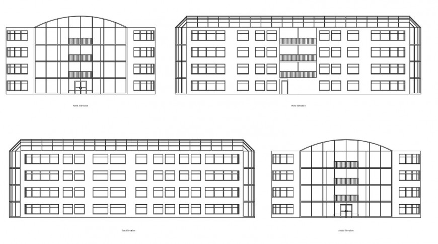Multi-story apartment building all sided elevation auto-cad drawing details dwg file