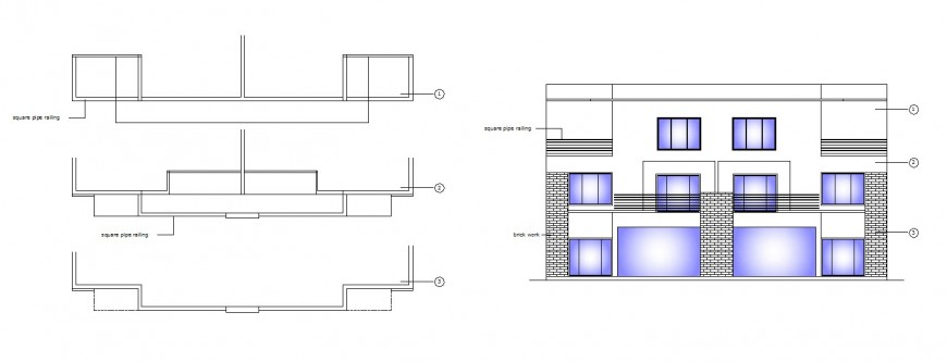 Multi-story apartment building main elevation and structure details dwg file