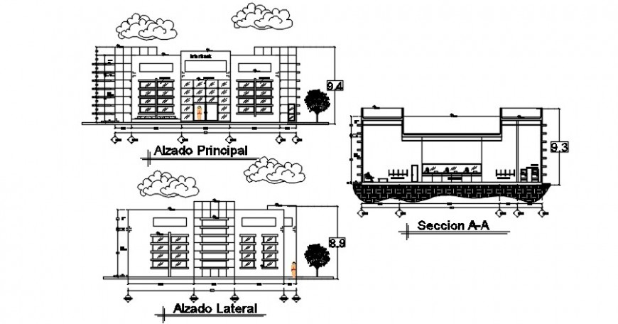 Multi-story bank building front and back elevation and main section cad drawing details dwg file