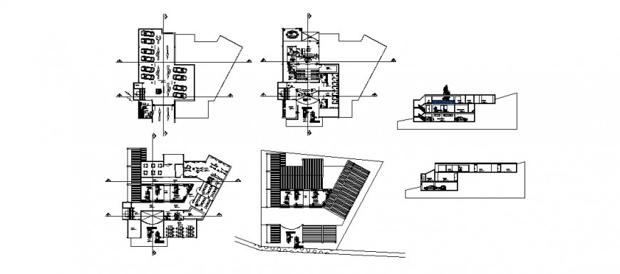 Multi-story building plan and section 2d view layout file in dwg format