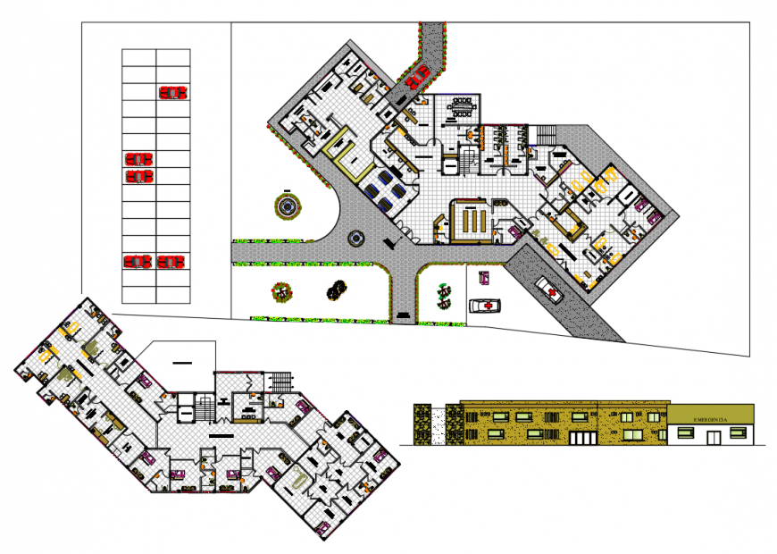 Multi-story city hospital facade elevation and structural layout plan details dwg file