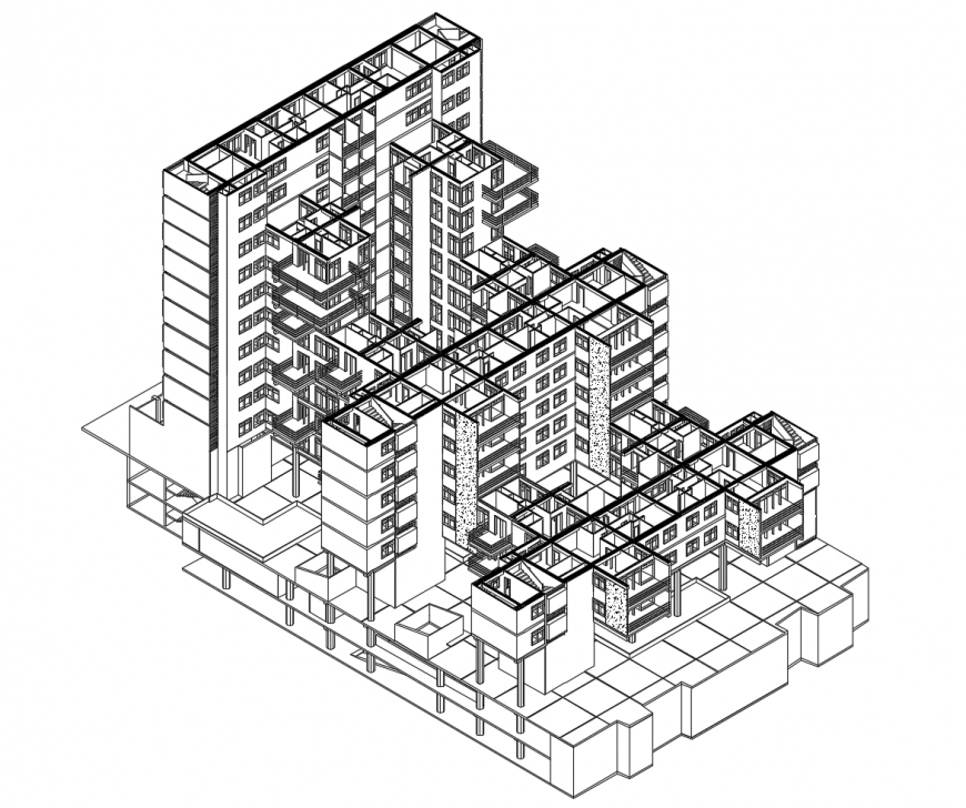 Multi-story collective housing apartment building isometric model cad drawing details dwg file