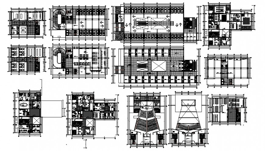 Multi-story commercial building drawings work plan AutoCAD file