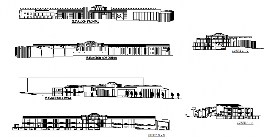 Multi-story convention center building all sided elevation and sectional details dwg file