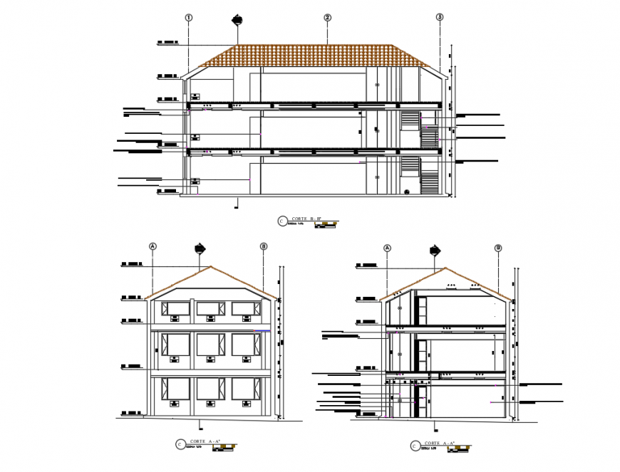Multi-story corporate building all sided sectional details dwg file