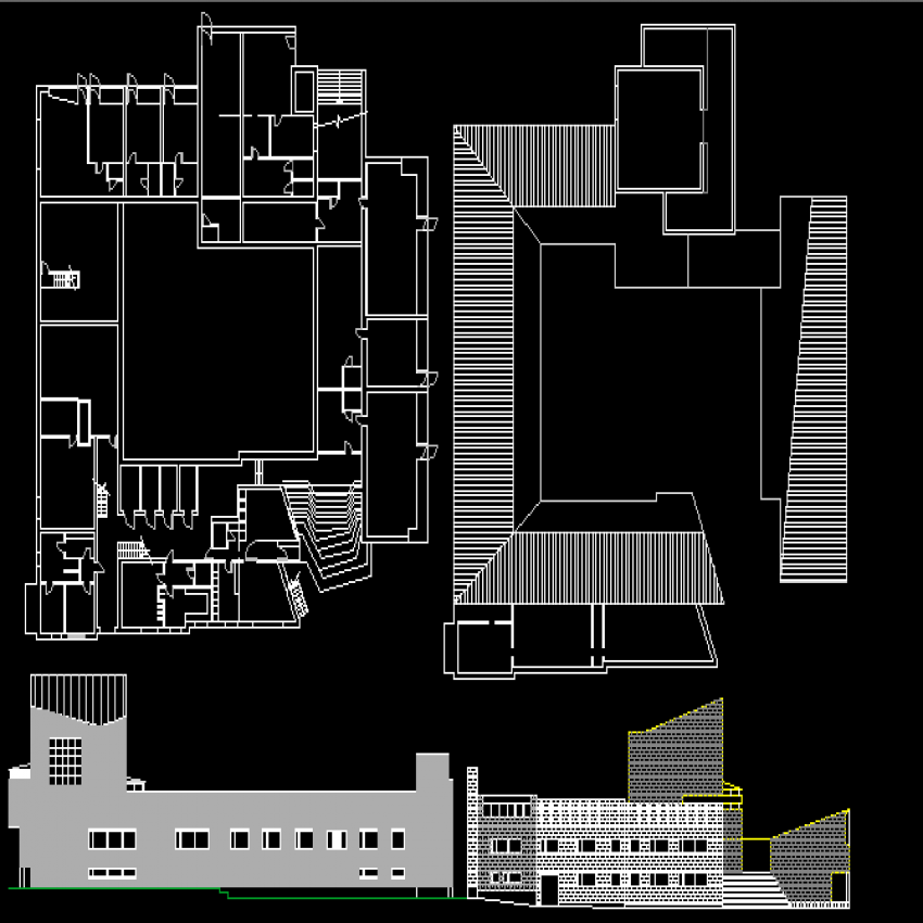 Multi-story corporate building architecture project dwg file