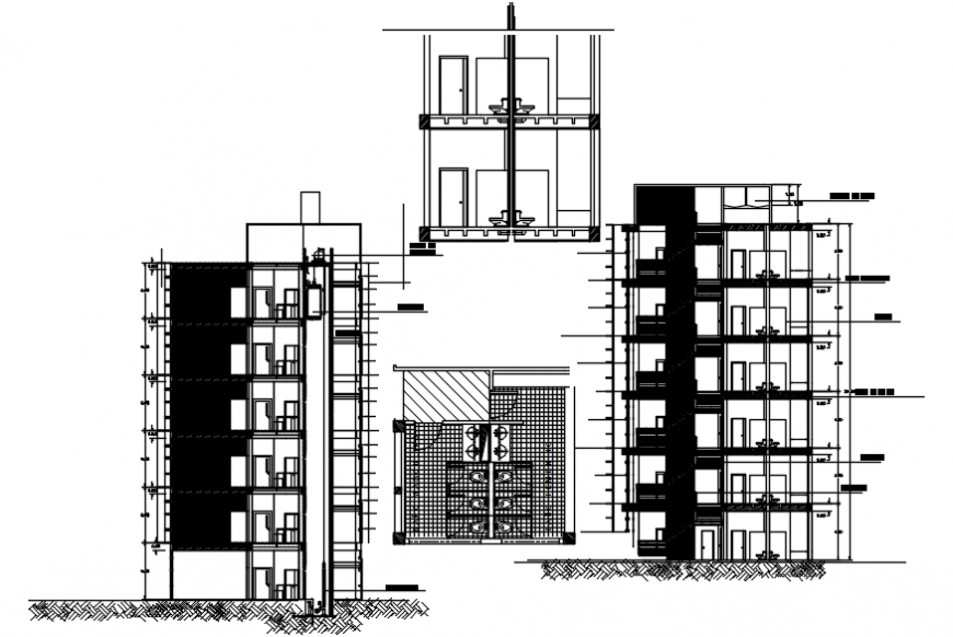 Multi-story corporate building elevation, section and sanitary details dwg file