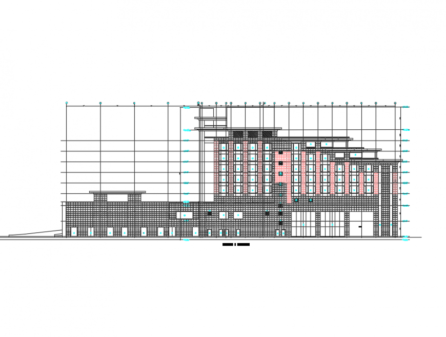 Multi-story corporate building front elevation details dwg file