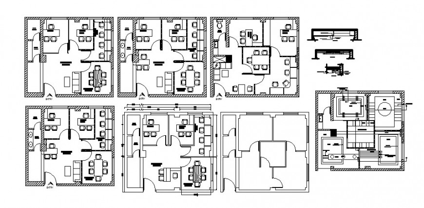 Multi-story corporate office building floors distribution layout plan with furniture cad drawing details dwg file