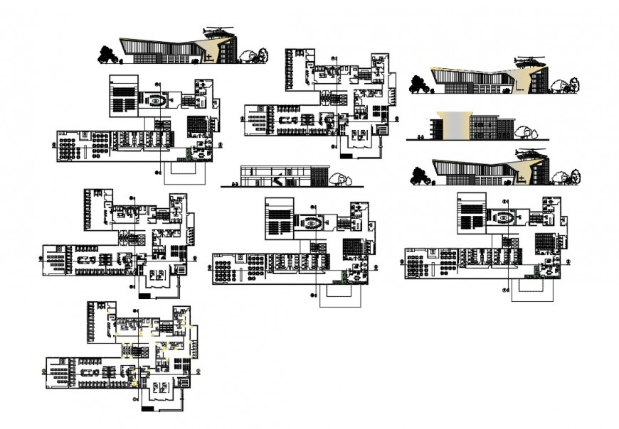 Multi-story emergency hospital elevation, section and floor plan details dwg file