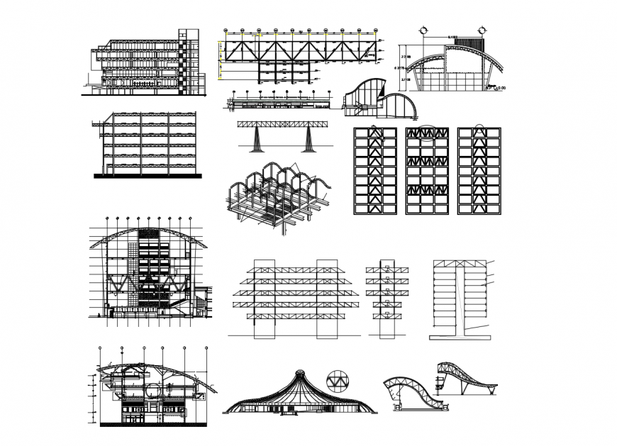 Multi-story famous buildings of Brasil city elevation and section drawing details dwg file