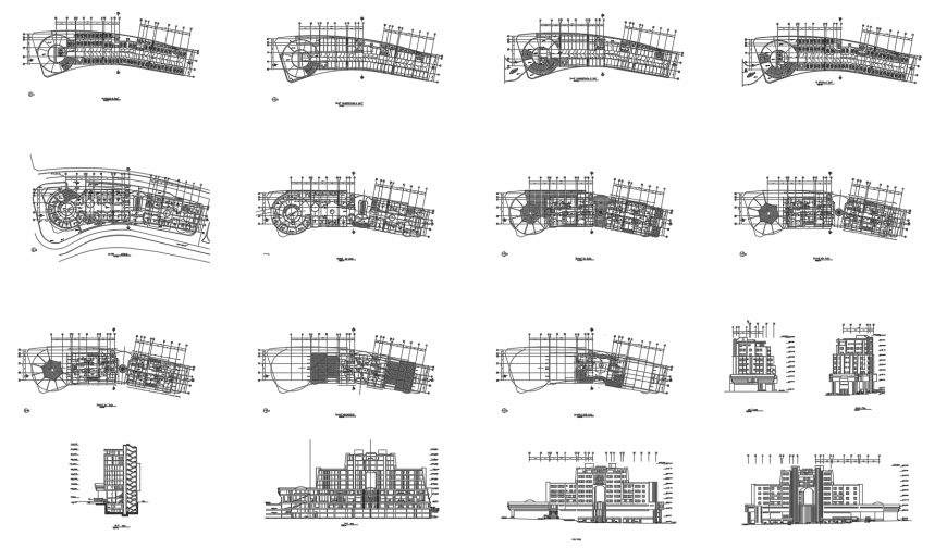 Multi-story five star hotel building elevation, section and floor plan cad drawing details dwg file