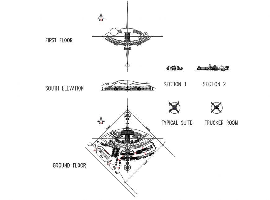 Multi-story five star hotel elevation, section and floor plan details dwg file