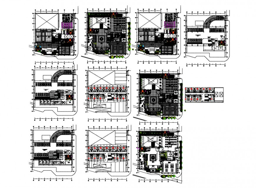 Multi-story five star hotel floor plan and structure design details dwg file